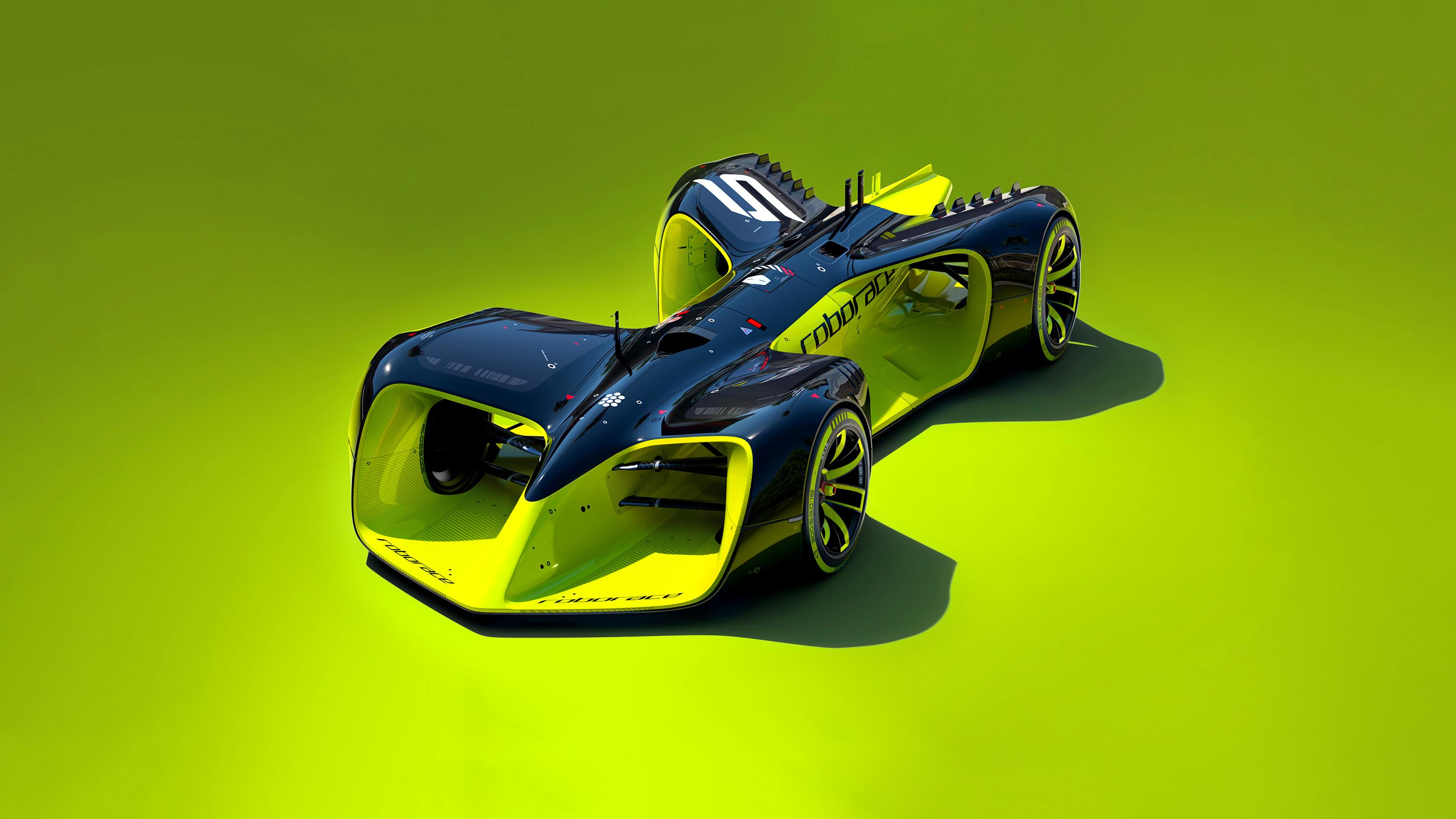 roborace des voitures de course sans pilotes au design futuriste. Black Bedroom Furniture Sets. Home Design Ideas