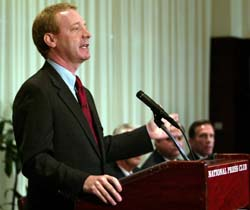 Brad Smith, senior vice president and general counsel at Microsoft, talks to reporters during a news conference at the National Press Club in Washington D.C. November 5, 2003 where he announced the creation of the Anti-Virus Reward Program to help law enforcement agencies identify and bring to justice those who illegally release damaging worms and viruses on the Internet. The reward program is initially funded with $5 million dollars and rewards of a quarter-million dollars each were set up for the arrest and conviction of those responsible for unleashing the MSBlast.A worm and the Sobig virus. Photo by Jeff Christensen