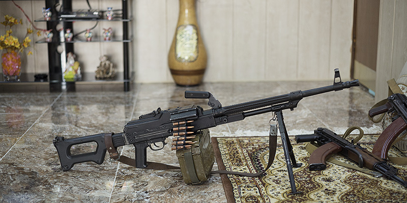 29/09/2015. Chamchamal, Iraq. A variant of the Russian PK general purpose machine gun is seen at the home of Hadji Fazer in Chamchamal, Iraq. The machine gun was captured by Fazer and his group from ISIS during fighting between the peshmerga and the Islamic Militant group. Supported by coalition airstrikes around 3500 peshmerga of the Patriotic Union of Kurdistan (PUK) and the Kurdistan Democratic Party (KDP) engaged in a large offensive to push Islamic State militants out of villages to the west of Kirkuk. During previous offensives ISIS fighters withdrew after sustained coalition air support, but this time in many places militants stayed and fought. The day would see the coalition conduct around 50 airstrikes helping the joint peshmerga force to advance to within a few kilometres of the ISIS stronghold of Hawija and re-take around 17 villages. Around 20 peshmerga lost their lives to improvised explosive devices left by the Islamic State, reports suggest that between 40 and 150 militants were killed.