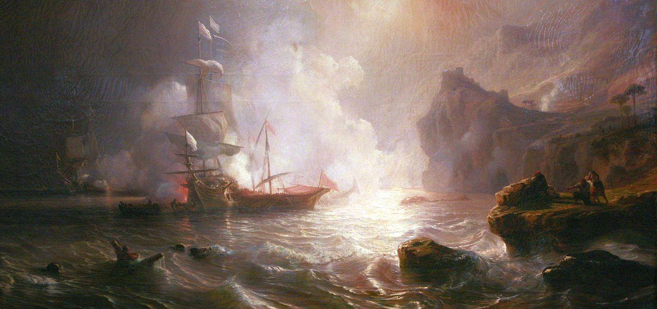 Combat d'un vaisseau français et de deux galères barbaresques, par Théodore Gudin.