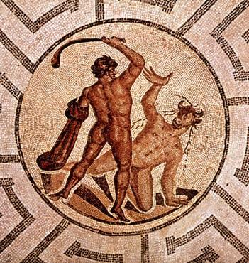 Une mosaïque représentant Thésée et le Minotaure