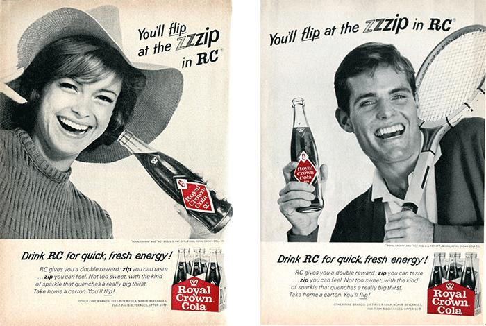 Deux publicités pour Royal Crown Cola, datants de 1966