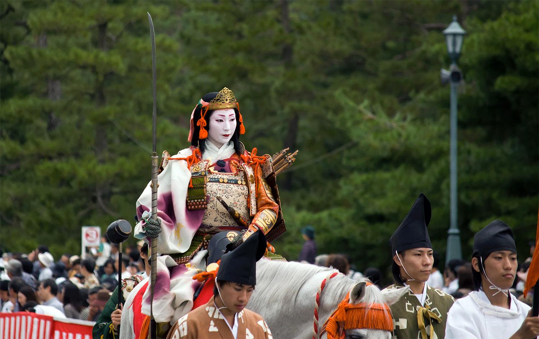 Tomoe figure parmi les personnages les plus acclamés du festival du Jidai matsuri de KyôtoCrédits : Matthew Ferguson
