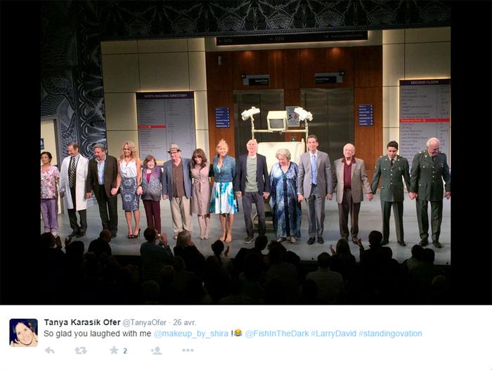 Larry David et le casting de Fish in the dark sur la scène du Cort theatreCrédits