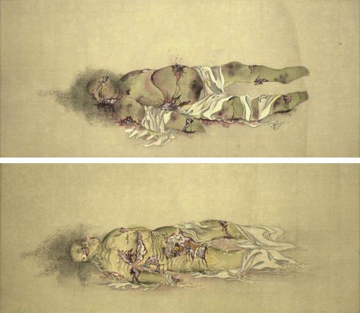 Le corps d'une courtisane en neuf étapesPanneaux 5 et 6Kobayashi Eitaku, 1870
