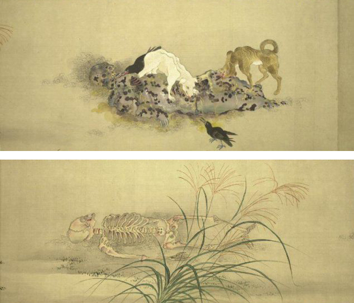 Le corps d'une courtisane en neuf étapesPanneaux 7 et 8Kobayashi Eitaku, 1870