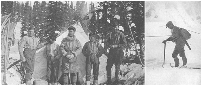 : L'équipe de l'expédition de 1913De gauche à droite : Robert Tatum, Esaias George (porteur), Harry Karstens, John Fredson (porteur), Walter Harper et