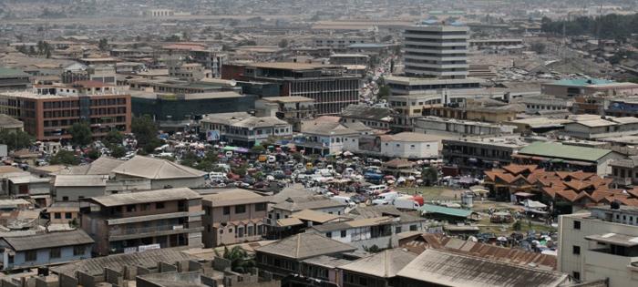 Le centre ville d'Accra, la capitale du Ghana Crédits