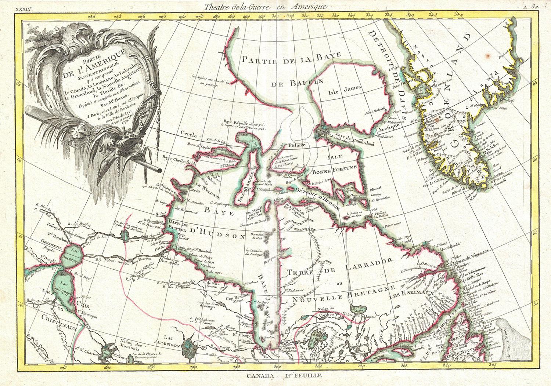 Carte datant de 1776, représentant les baies d'Hudson et de BaffinCrédits