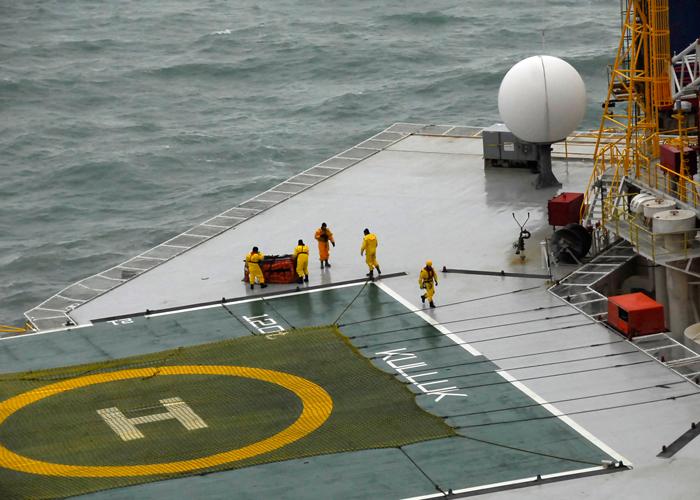 L'équipe de sauvetage à bord du KullukCrédits : USCG