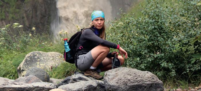 Matrosova pendant son ascension du Mt Elbrouz Crédits : Charlie Farhoodi