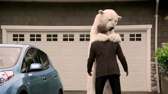 Certaines publicités jouent sur l'image de l'ours polaireCrédits : Nissan