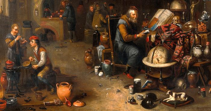 Un alchimiste dans son laboratoire d'artiste inconnu