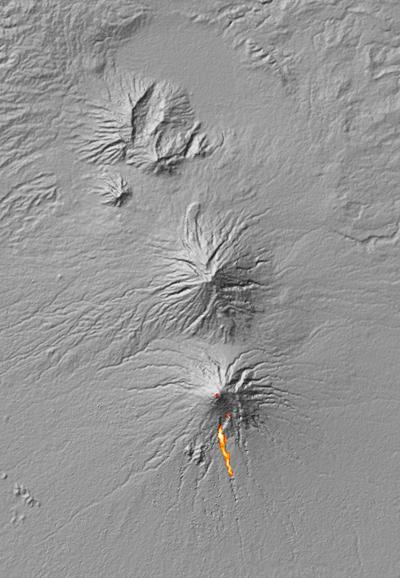 Image thermique du volcan lors de son éruption en 2010Crédits