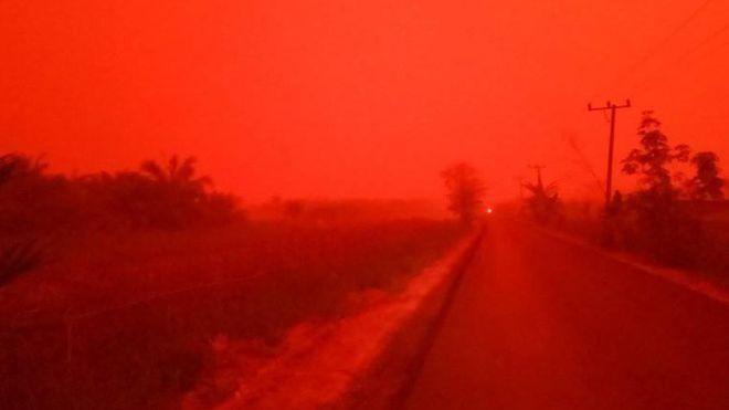 Un nuage rouge, causé par des incendies, envahit le ciel — Indonésie